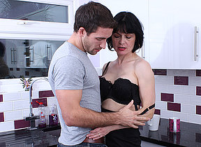 Hot British housewife gets a fuck in her kitchen