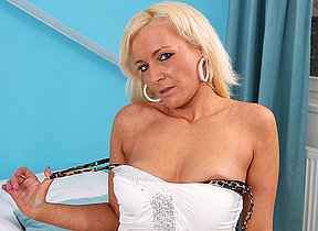 Horny blonde MILF playing with her toys