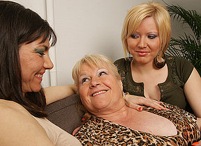 A handful of horny old and young lesbians enjoy each other