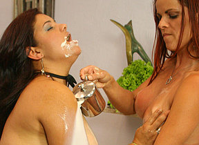 Two kinky mature whores play with their food