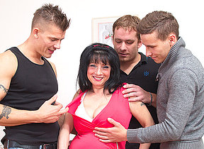 Big breasted housewife taking on three guys
