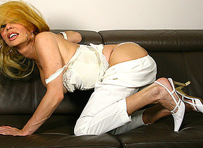 naughty blonde missus playing with her toy