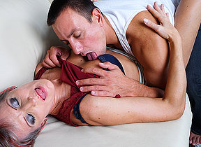 Horny mature hussy fucking her younger lover