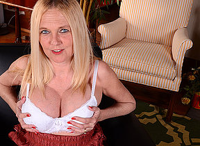 Naughty big titted American housewife playing alone