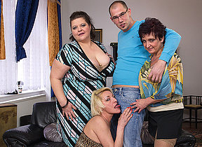 Three mature ladies fucking and sucking a boyfriend