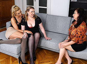 Sexy cutie doing two lesbian housewives