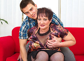 Chubby mature lady fucked by her toy boy