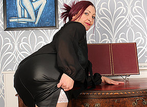 Naughty British missis fooling around at the office