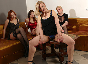 Four naughty housewives go full lesbian