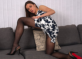 Naughty mom with a panty and high heels get juicy