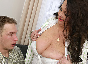 Curvy big titted mature lady fucking her toy boy