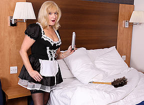 Mature British maid finds a toy cleaning and gets naughty