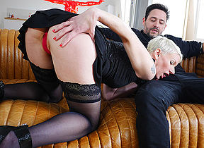 Sexy French Milf sucks a big cock and takes it up her ass